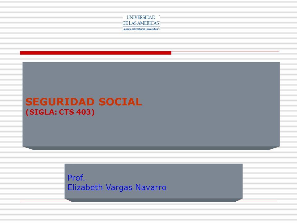 SEGURIDAD SOCIAL (SIGLA: CTS 403) Prof. Elizabeth Vargas Navarro