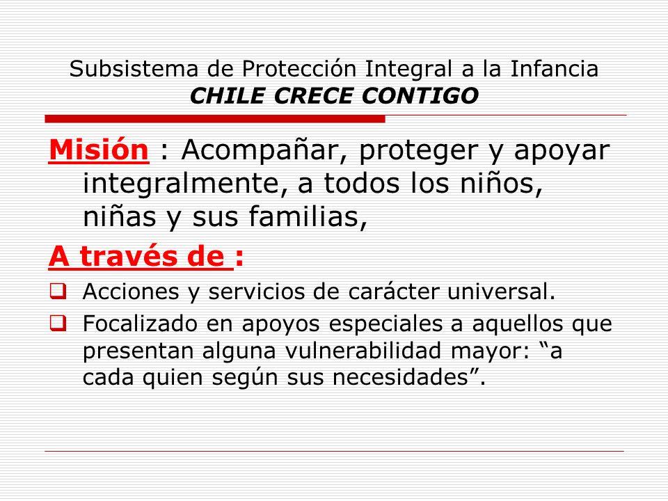 Subsistema de Protección Integral a la Infancia CHILE CRECE CONTIGO Misión : Acompañar, proteger y apoyar integralmente, a todos los niños, niñas y su
