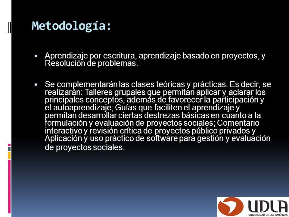 Metodología: Aprendizaje por escritura, aprendizaje basado en proyectos, y Resolución de problemas. Se complementarán las clases teóricas y prácticas.