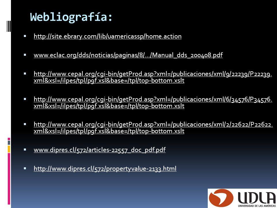 Webliografía: http://site.ebrary.com/lib/uamericassp/home.action www.eclac.org/dds/noticias/paginas/8/.../Manual_dds_200408.pdf http://www.cepal.org/c