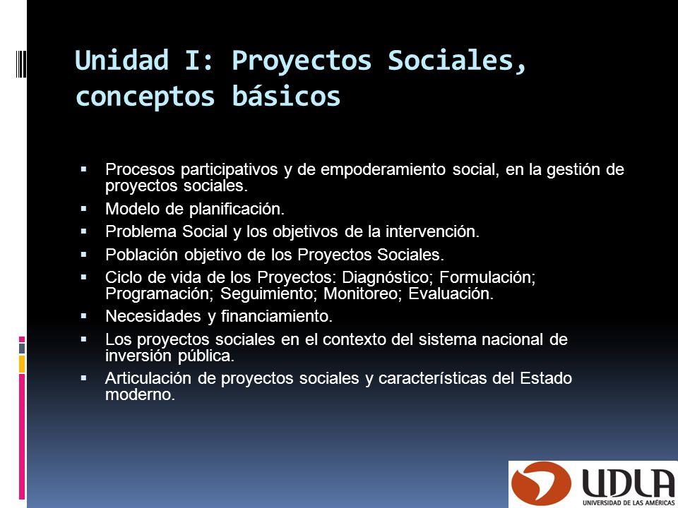 Unidad I: Proyectos Sociales, conceptos básicos Procesos participativos y de empoderamiento social, en la gestión de proyectos sociales. Modelo de pla