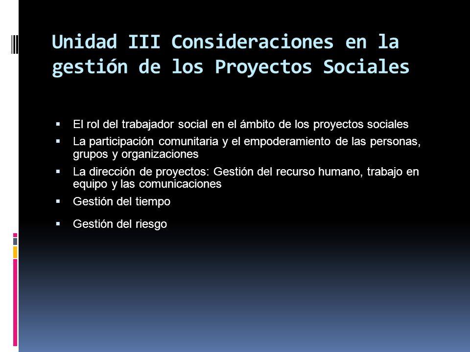 Unidad III Consideraciones en la gestión de los Proyectos Sociales El rol del trabajador social en el ámbito de los proyectos sociales La participació