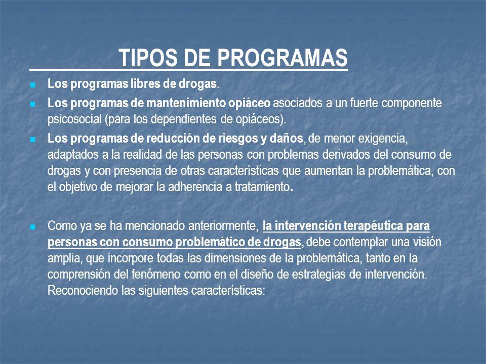 TIPOS DE PROGRAMAS Los programas libres de drogas. Los programas de mantenimiento opiáceo asociados a un fuerte componente psicosocial (para los depen