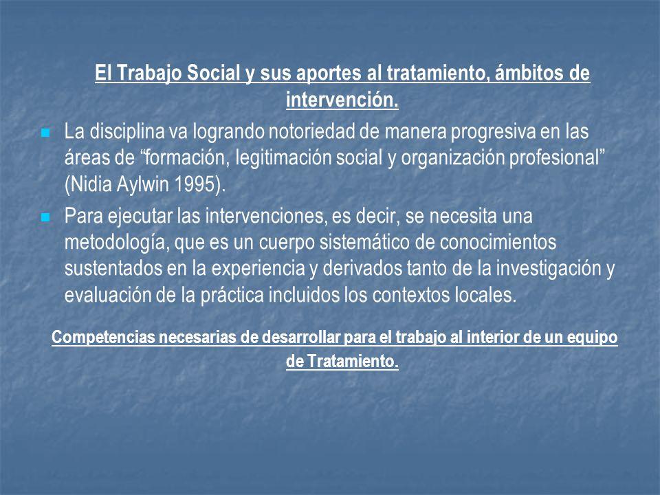 El Trabajo Social y sus aportes al tratamiento, ámbitos de intervención. La disciplina va logrando notoriedad de manera progresiva en las áreas de for