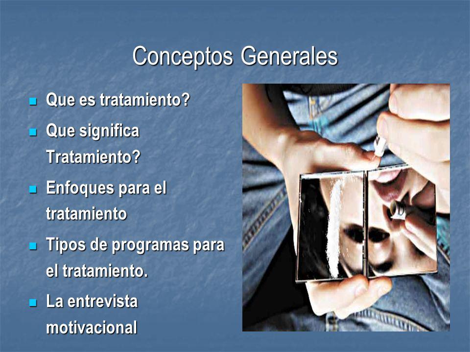 Conceptos Generales Que es tratamiento? Que es tratamiento? Que significa Tratamiento? Que significa Tratamiento? Enfoques para el tratamiento Enfoque