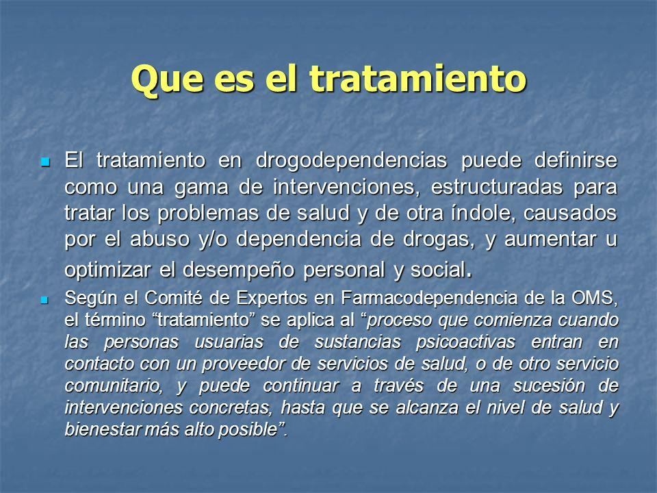 Que es el tratamiento El tratamiento en drogodependencias puede definirse como una gama de intervenciones, estructuradas para tratar los problemas de
