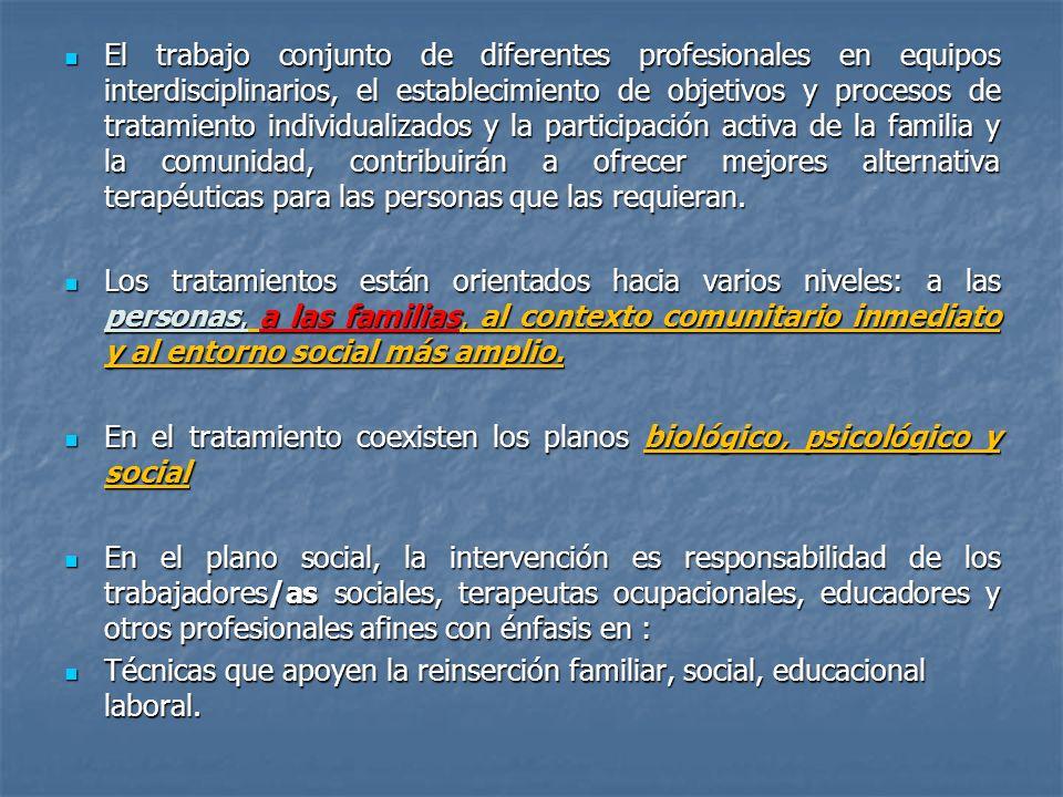 El trabajo conjunto de diferentes profesionales en equipos interdisciplinarios, el establecimiento de objetivos y procesos de tratamiento individualiz