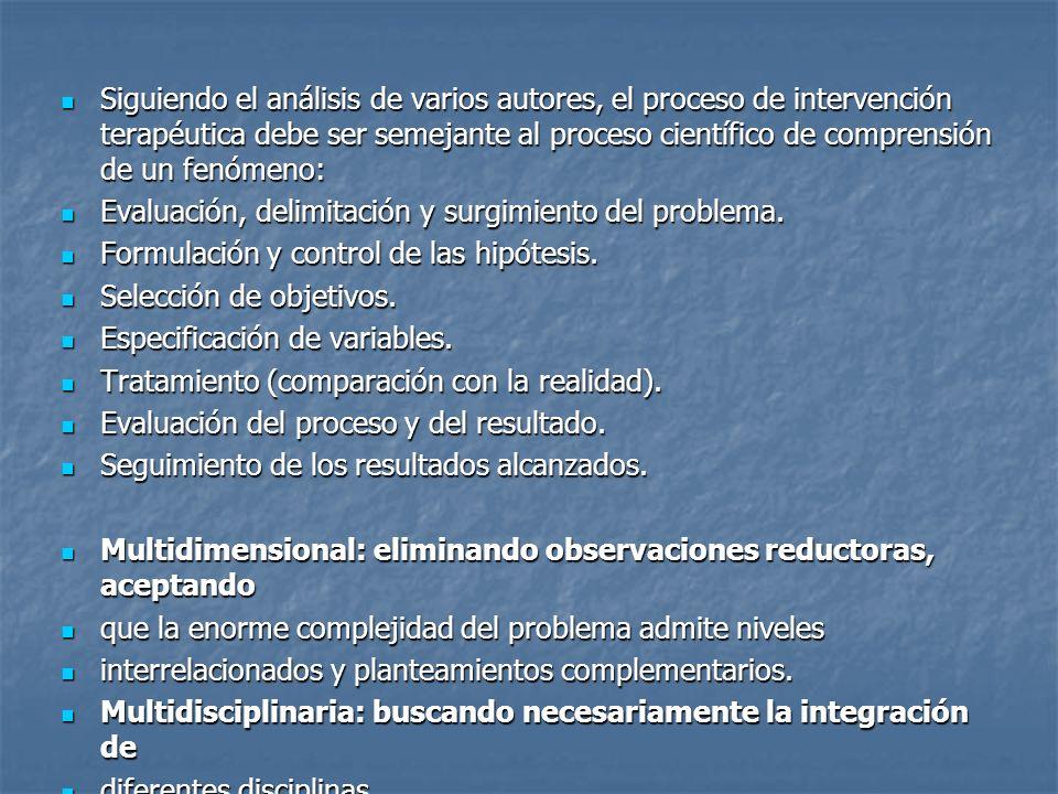 Siguiendo el análisis de varios autores, el proceso de intervención terapéutica debe ser semejante al proceso científico de comprensión de un fenómeno