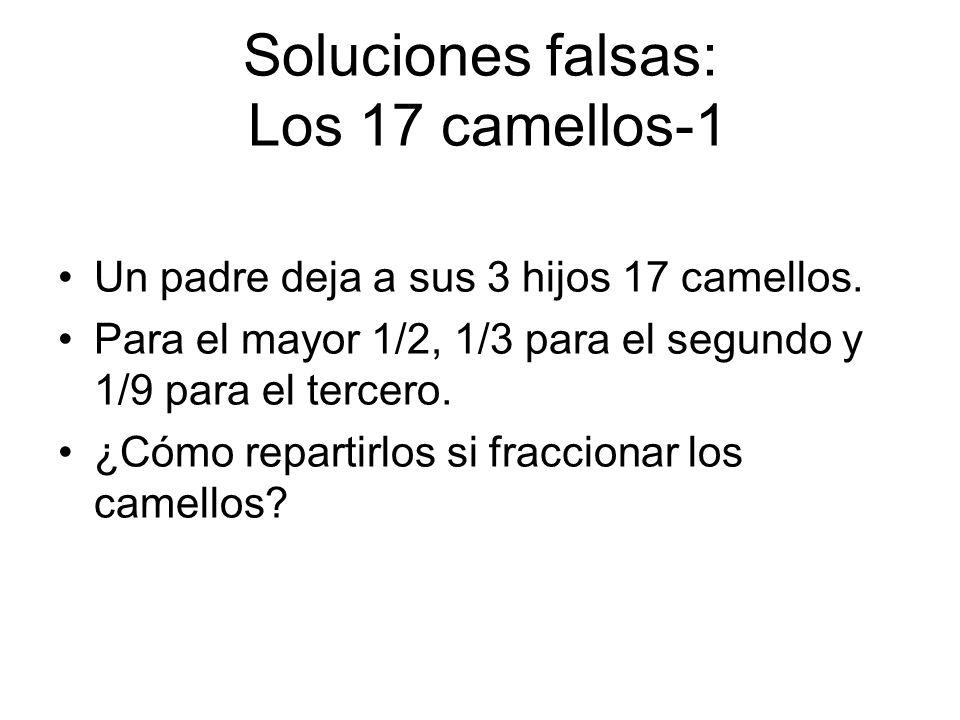 Soluciones falsas: Los 17 camellos-1 Un padre deja a sus 3 hijos 17 camellos. Para el mayor 1/2, 1/3 para el segundo y 1/9 para el tercero. ¿Cómo repa