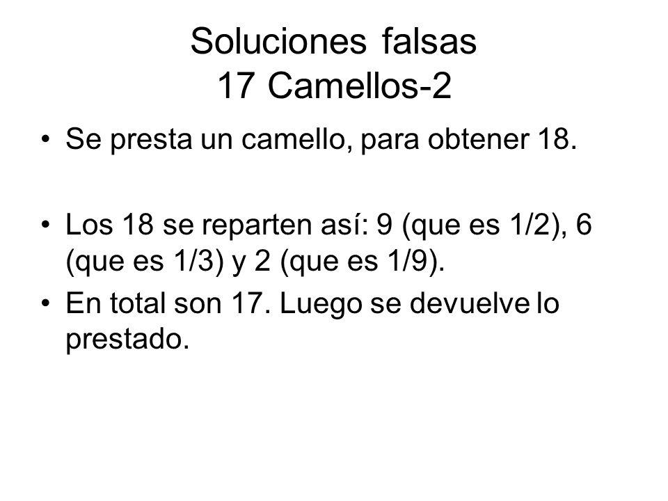 Soluciones falsas 17 Camellos-2 Se presta un camello, para obtener 18. Los 18 se reparten así: 9 (que es 1/2), 6 (que es 1/3) y 2 (que es 1/9). En tot