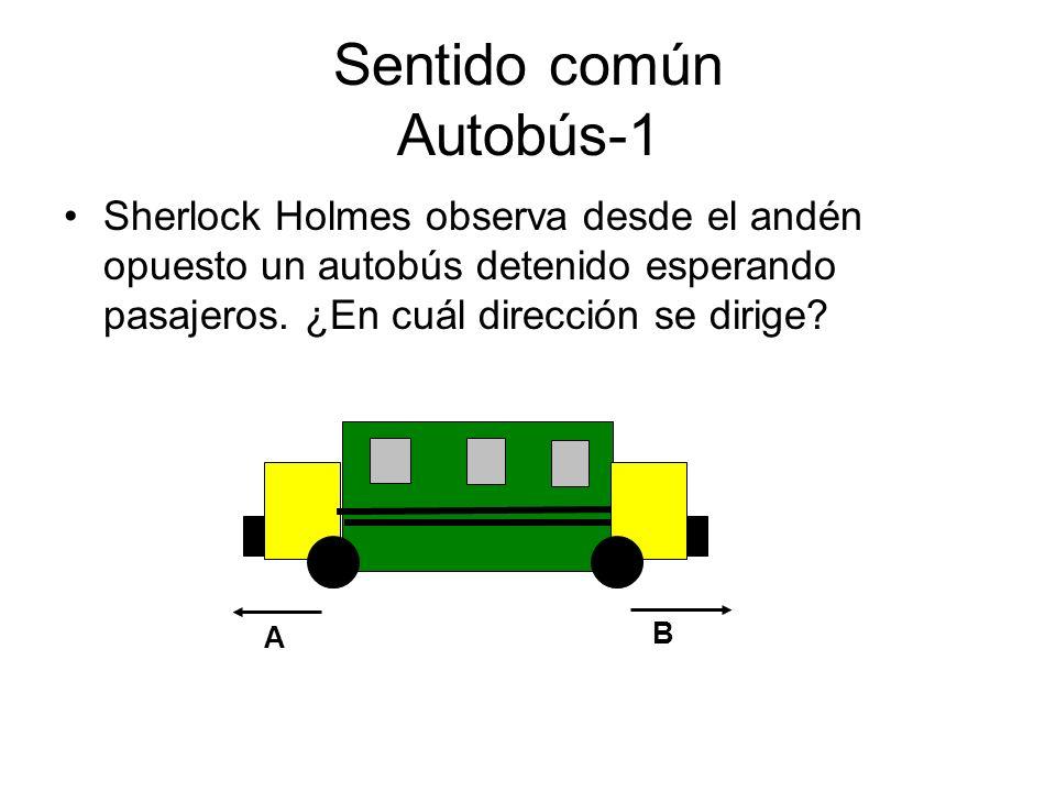 Sentido común Autobús-1 Sherlock Holmes observa desde el andén opuesto un autobús detenido esperando pasajeros. ¿En cuál dirección se dirige? B A