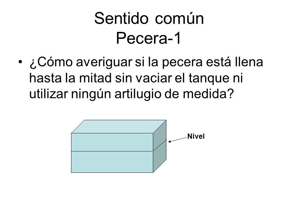 Sentido común Pecera-1 ¿Cómo averiguar si la pecera está llena hasta la mitad sin vaciar el tanque ni utilizar ningún artilugio de medida? Nivel