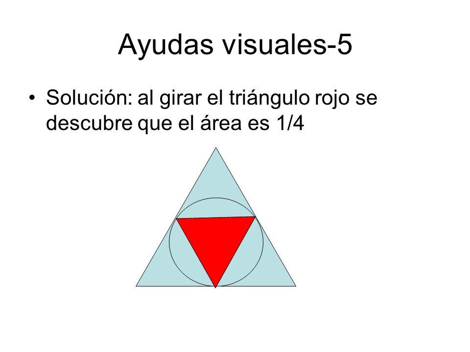 Ayudas visuales-5 Solución: al girar el triángulo rojo se descubre que el área es 1/4