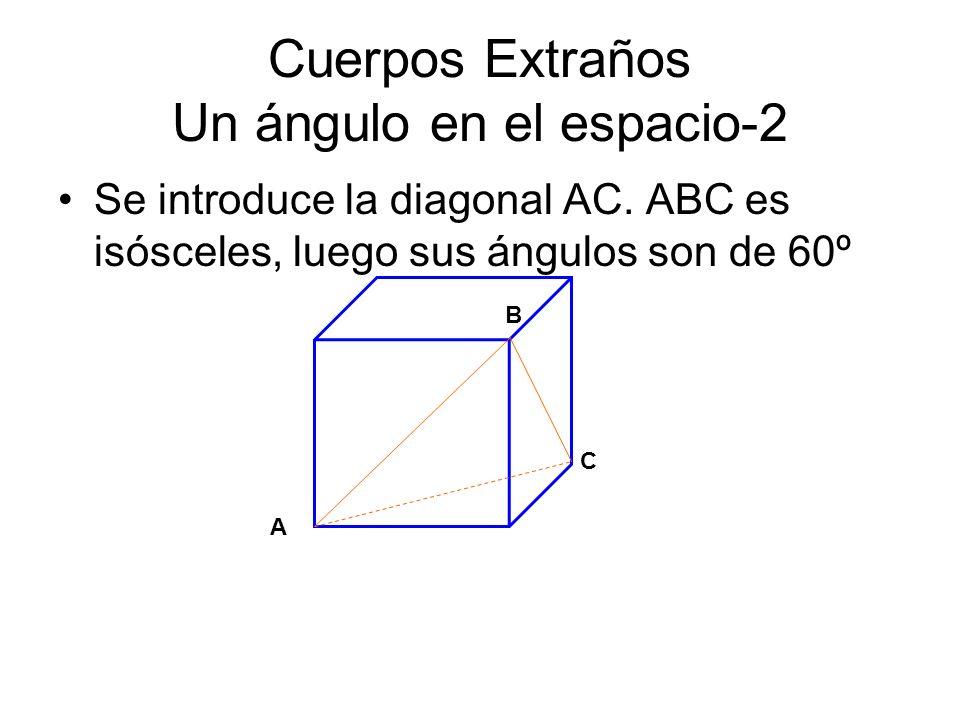 Cuerpos Extraños Un ángulo en el espacio-2 Se introduce la diagonal AC. ABC es isósceles, luego sus ángulos son de 60º B C A