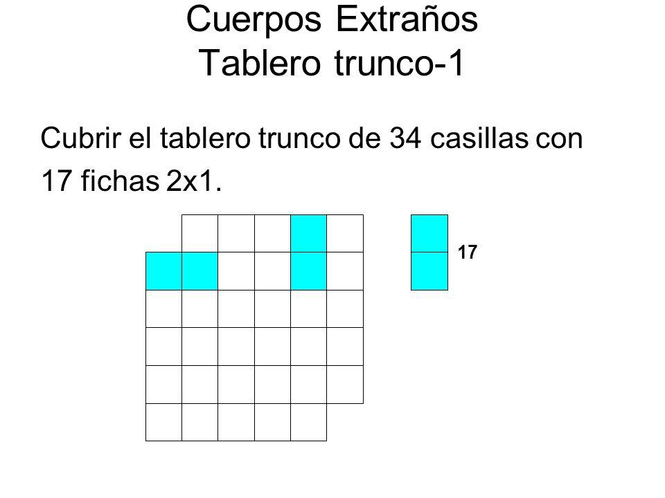 Cuerpos Extraños Tablero trunco-1 Cubrir el tablero trunco de 34 casillas con 17 fichas 2x1. 17