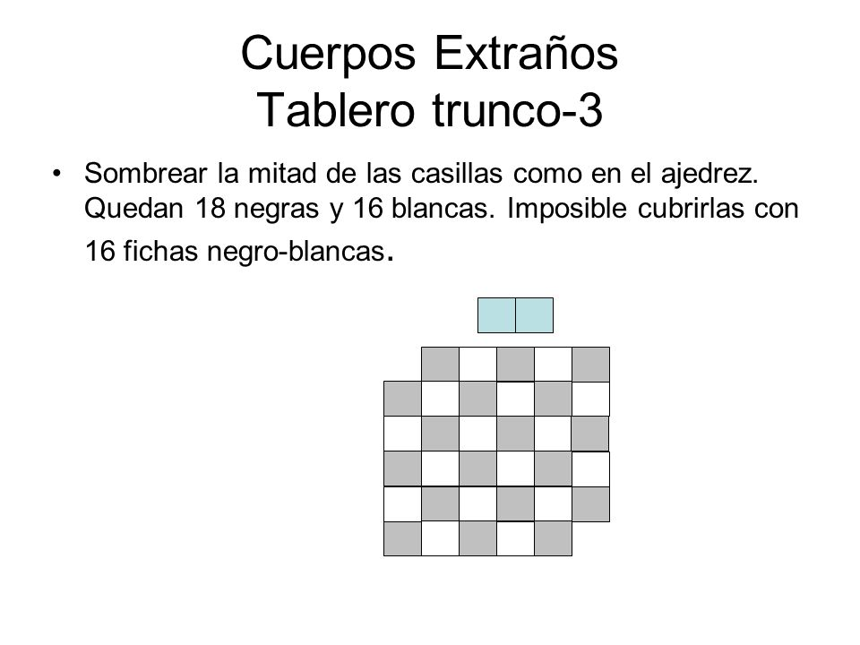 Cuerpos Extraños Tablero trunco-3 Sombrear la mitad de las casillas como en el ajedrez. Quedan 18 negras y 16 blancas. Imposible cubrirlas con 16 fich