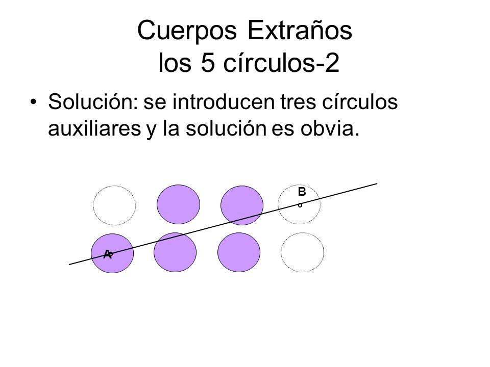 Cuerpos Extraños los 5 círculos-2 Solución: se introducen tres círculos auxiliares y la solución es obvia. A B o o