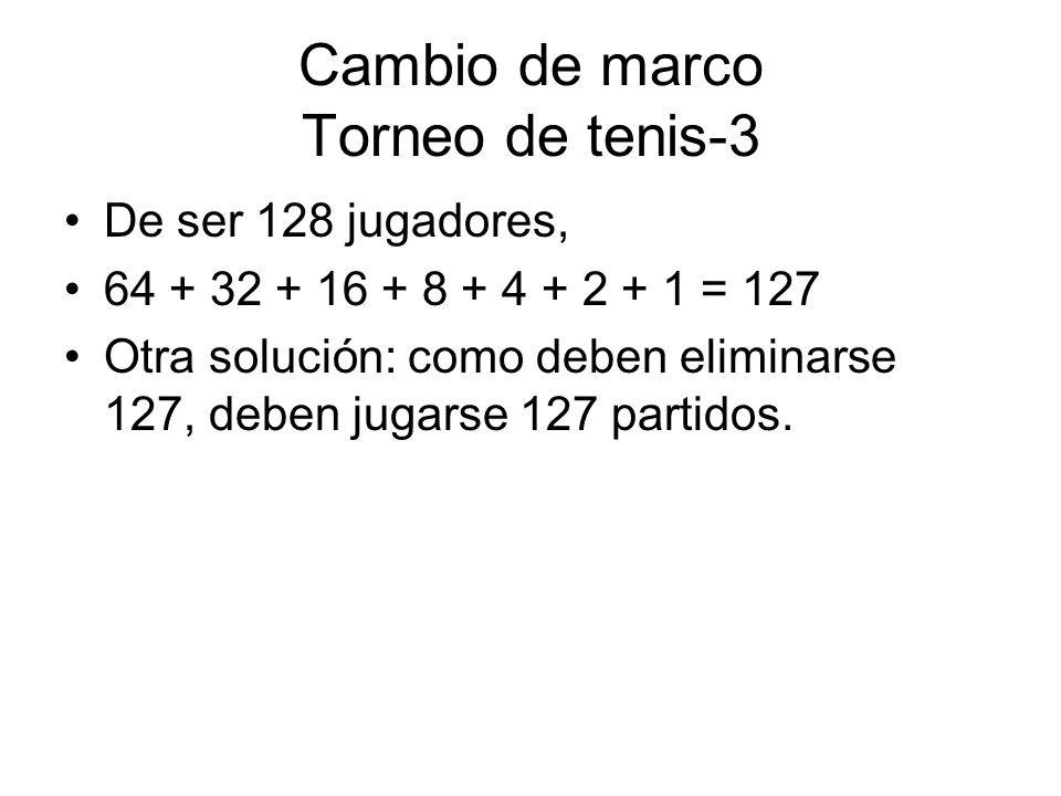 Cambio de marco Torneo de tenis-3 De ser 128 jugadores, 64 + 32 + 16 + 8 + 4 + 2 + 1 = 127 Otra solución: como deben eliminarse 127, deben jugarse 127