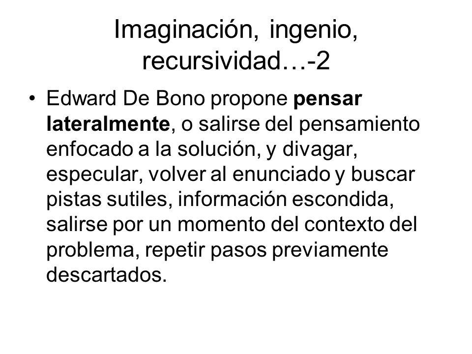 Imaginación, ingenio, recursividad…-2 Edward De Bono propone pensar lateralmente, o salirse del pensamiento enfocado a la solución, y divagar, especul
