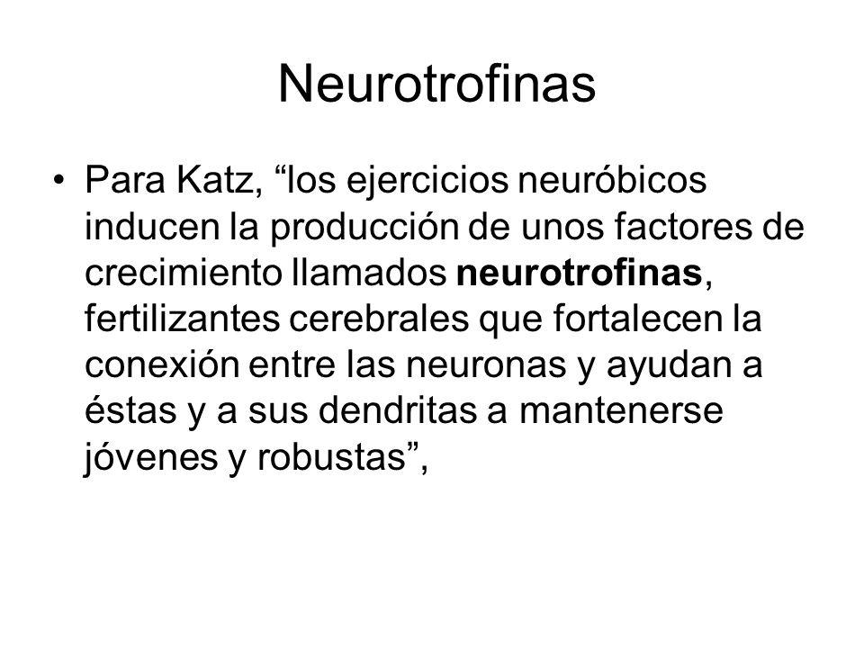 Neurotrofinas Para Katz, los ejercicios neuróbicos inducen la producción de unos factores de crecimiento llamados neurotrofinas, fertilizantes cerebra