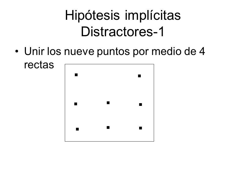 Hipótesis implícitas Distractores-1 Unir los nueve puntos por medio de 4 rectas........