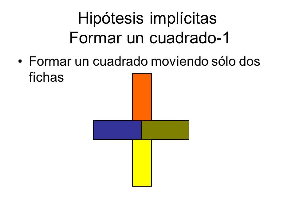Hipótesis implícitas Formar un cuadrado-1 Formar un cuadrado moviendo sólo dos fichas