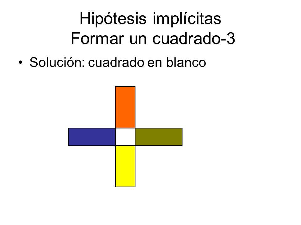 Hipótesis implícitas Formar un cuadrado-3 Solución: cuadrado en blanco