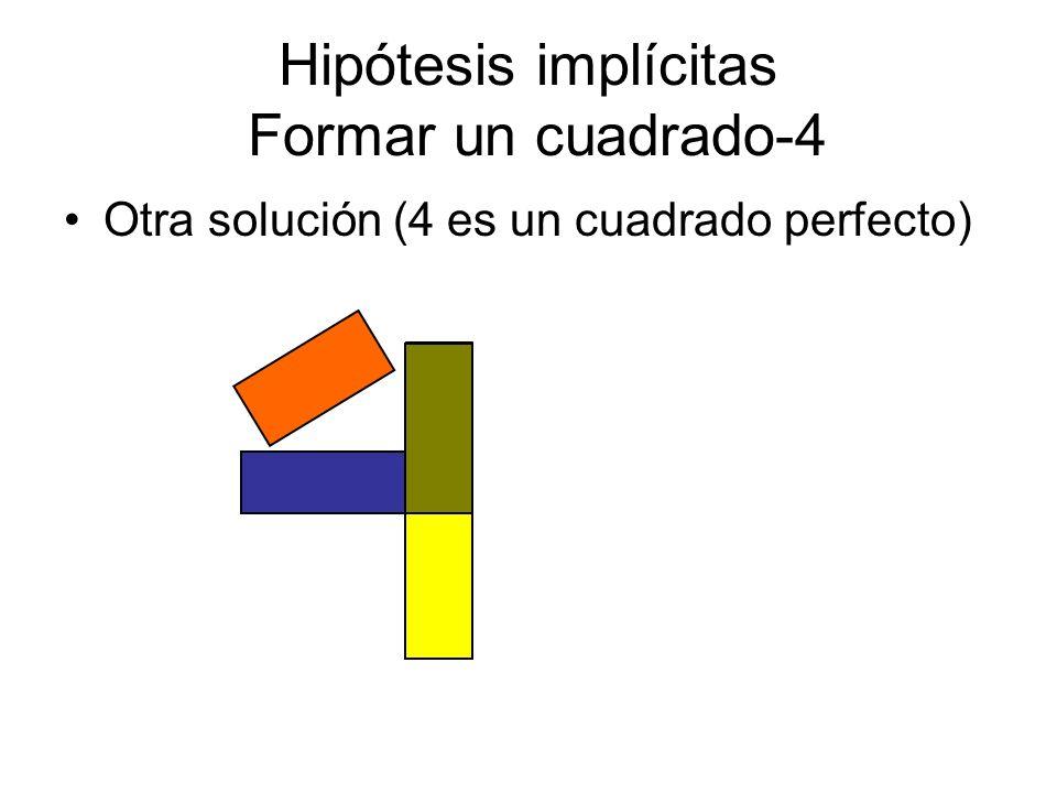 Hipótesis implícitas Formar un cuadrado-4 Otra solución (4 es un cuadrado perfecto)