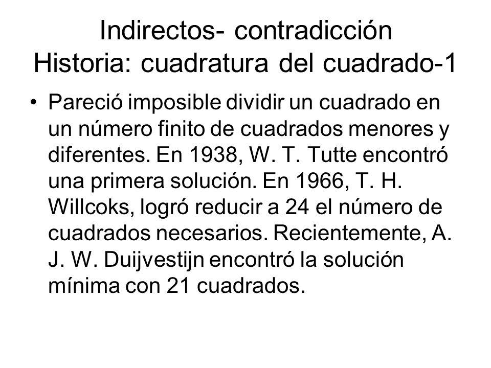 Indirectos- contradicción Historia: cuadratura del cuadrado-1 Pareció imposible dividir un cuadrado en un número finito de cuadrados menores y diferen
