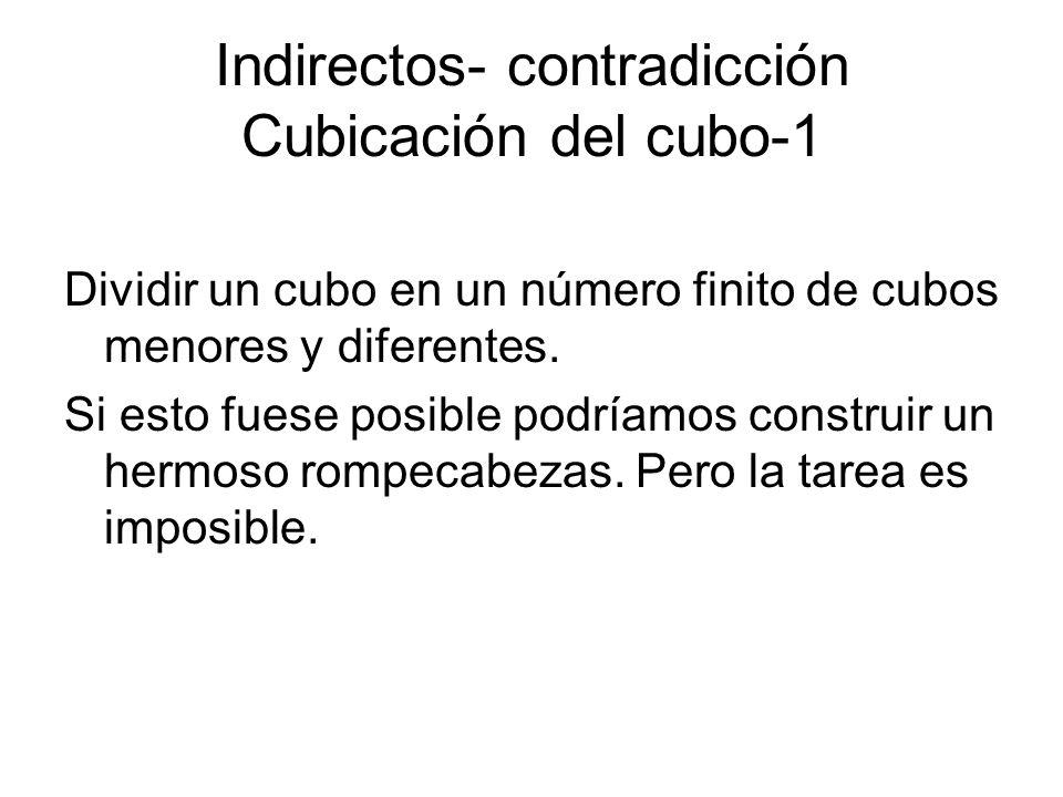 Indirectos- contradicción Cubicación del cubo-1 Dividir un cubo en un número finito de cubos menores y diferentes. Si esto fuese posible podríamos con