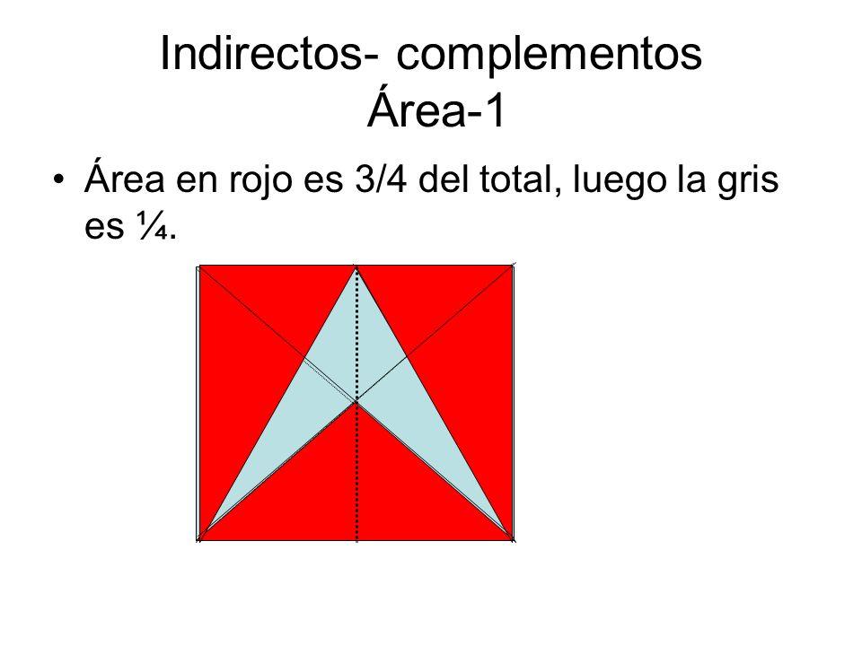 Indirectos- complementos Área-1 Área en rojo es 3/4 del total, luego la gris es ¼.