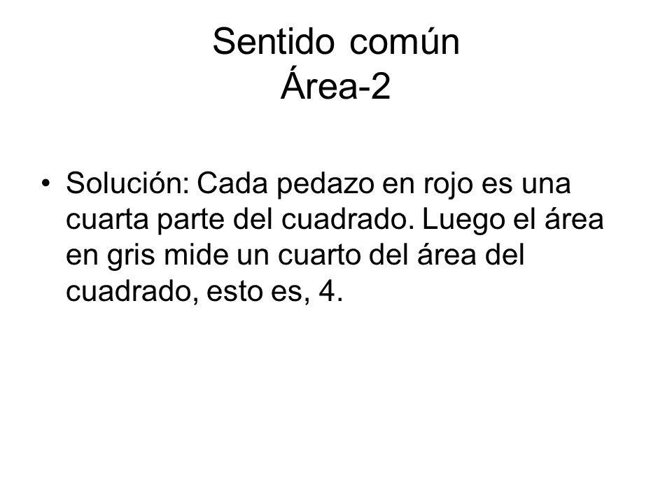 Sentido común Área-2 Solución: Cada pedazo en rojo es una cuarta parte del cuadrado. Luego el área en gris mide un cuarto del área del cuadrado, esto
