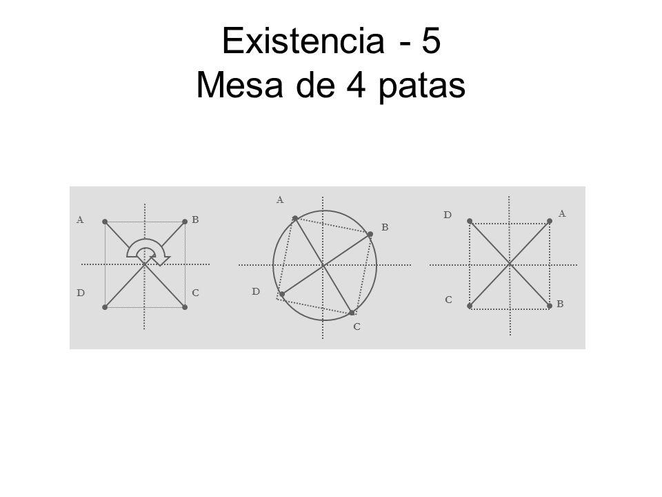 Existencia - 5 Mesa de 4 patas AB CD A B C D A B C D