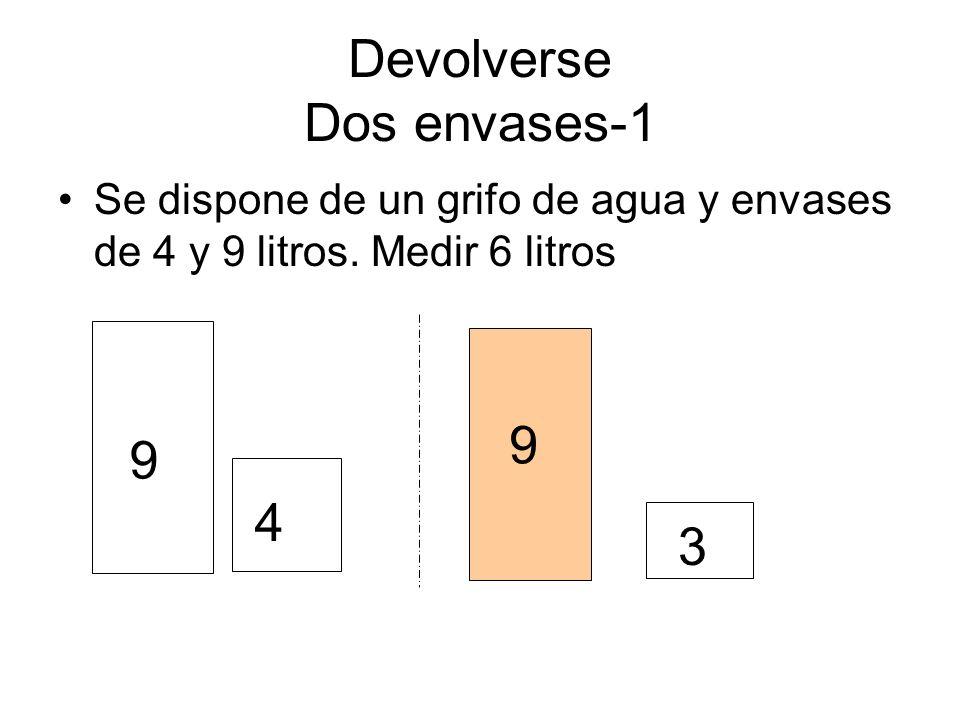 Devolverse Dos envases-1 Se dispone de un grifo de agua y envases de 4 y 9 litros. Medir 6 litros 9 4 3 9
