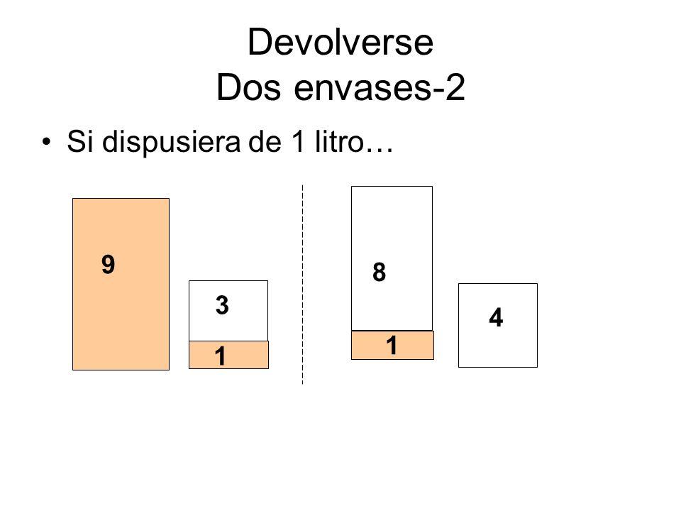 Devolverse Dos envases-2 Si dispusiera de 1 litro… 8 3 1 4 9 1 1