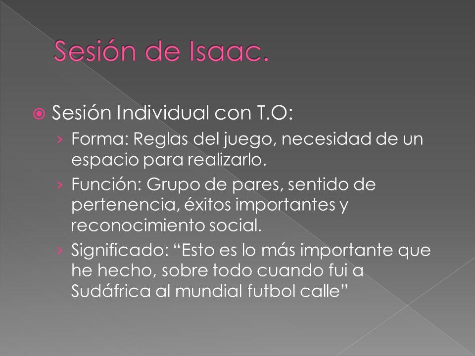 Sesión Individual con T.O: Forma: Reglas del juego, necesidad de un espacio para realizarlo. Función: Grupo de pares, sentido de pertenencia, éxitos i