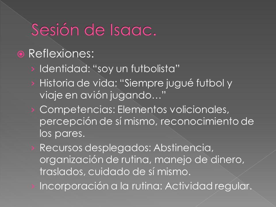 Reflexiones: Identidad: soy un futbolista Historia de vida: Siempre jugué futbol y viaje en avión jugando… Competencias: Elementos volicionales, perce