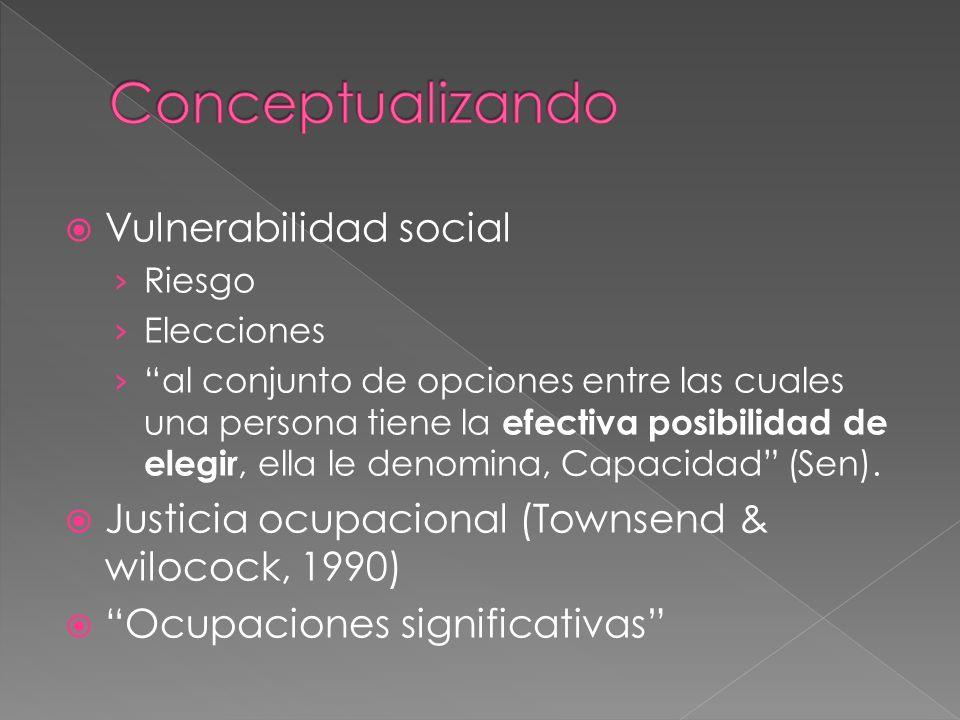 Vulnerabilidad social Riesgo Elecciones al conjunto de opciones entre las cuales una persona tiene la efectiva posibilidad de elegir, ella le denomina