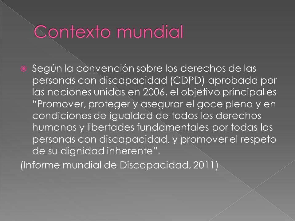 Según la convención sobre los derechos de las personas con discapacidad (CDPD) aprobada por las naciones unidas en 2006, el objetivo principal es Prom
