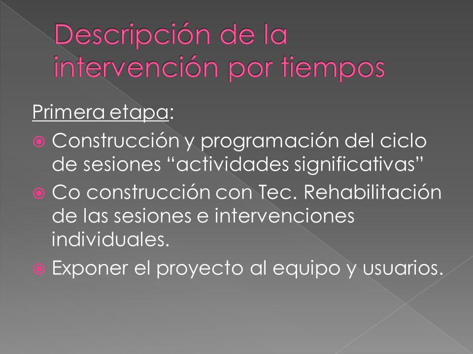 Primera etapa: Construcción y programación del ciclo de sesiones actividades significativas Co construcción con Tec. Rehabilitación de las sesiones e