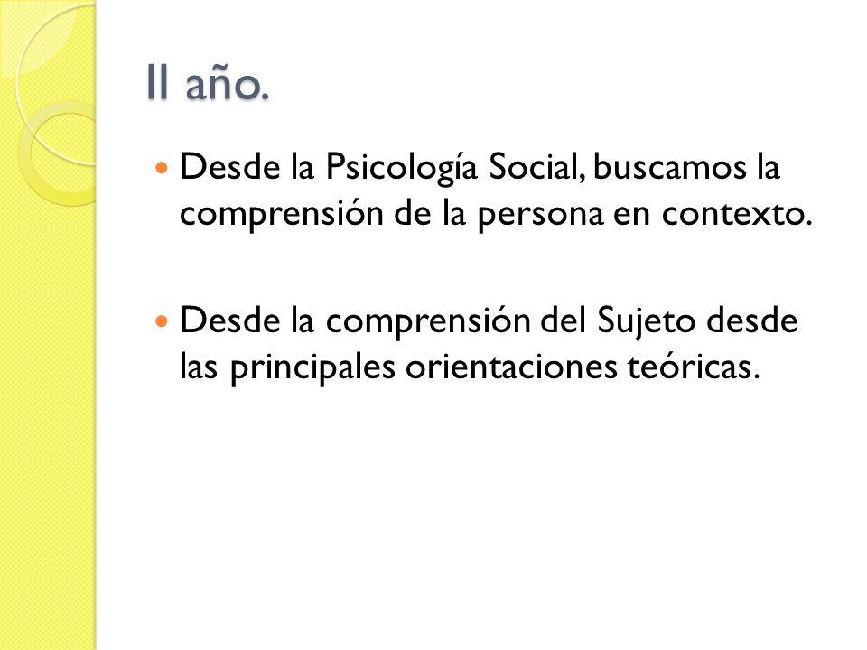 II año. Desde la Psicología Social, buscamos la comprensión de la persona en contexto. Desde la comprensión del Sujeto desde las principales orientaci