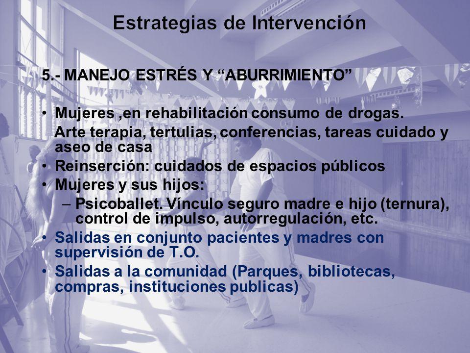 5.- MANEJO ESTRÉS Y ABURRIMIENTO Mujeres,en rehabilitación consumo de drogas. Arte terapia, tertulias, conferencias, tareas cuidado y aseo de casa Rei