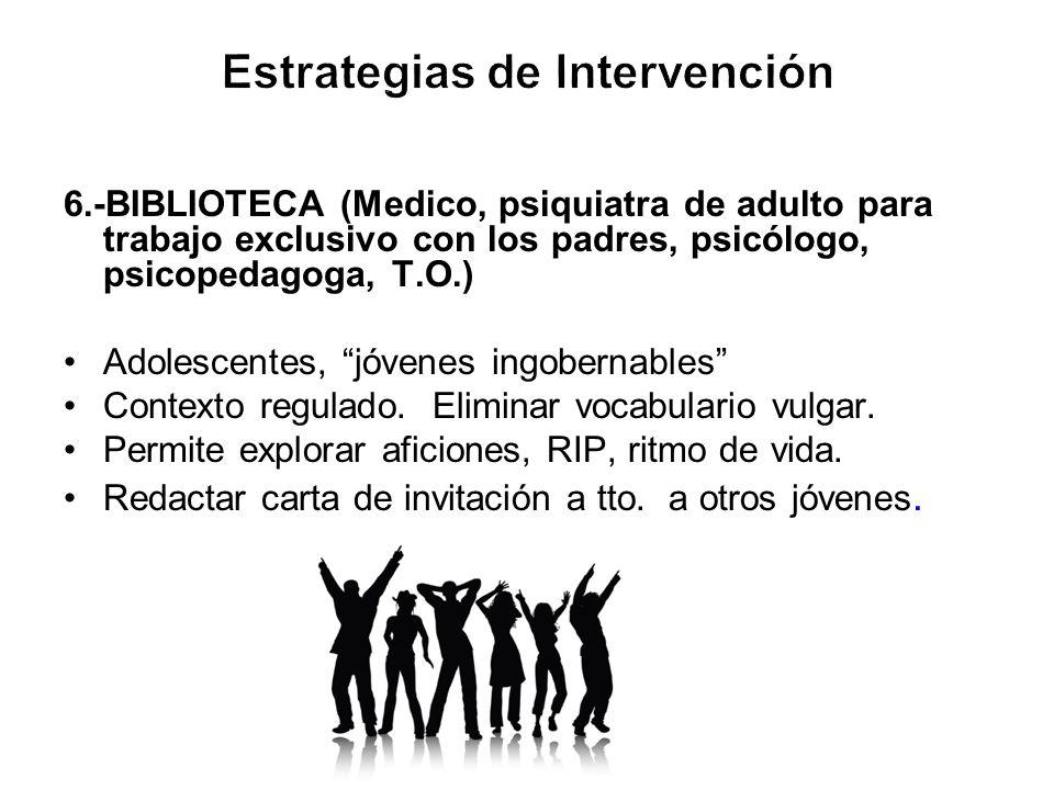 6.-BIBLIOTECA (Medico, psiquiatra de adulto para trabajo exclusivo con los padres, psicólogo, psicopedagoga, T.O.) Adolescentes, jóvenes ingobernables