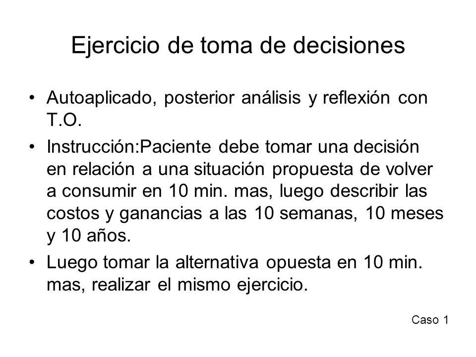 Ejercicio de toma de decisiones Autoaplicado, posterior análisis y reflexión con T.O. Instrucción:Paciente debe tomar una decisión en relación a una s