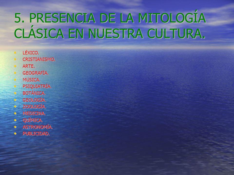 5. PRESENCIA DE LA MITOLOGÍA CLÁSICA EN NUESTRA CULTURA. LÉXICO. LÉXICO. CRISTIANISMO. CRISTIANISMO. ARTE. ARTE. GEOGRAFÍA. GEOGRAFÍA. MÚSICA. MÚSICA.