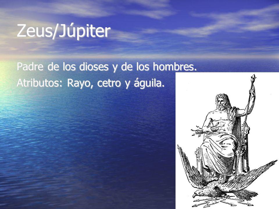 Zeus/Júpiter Padre de los dioses y de los hombres. Atributos: Rayo, cetro y águila.