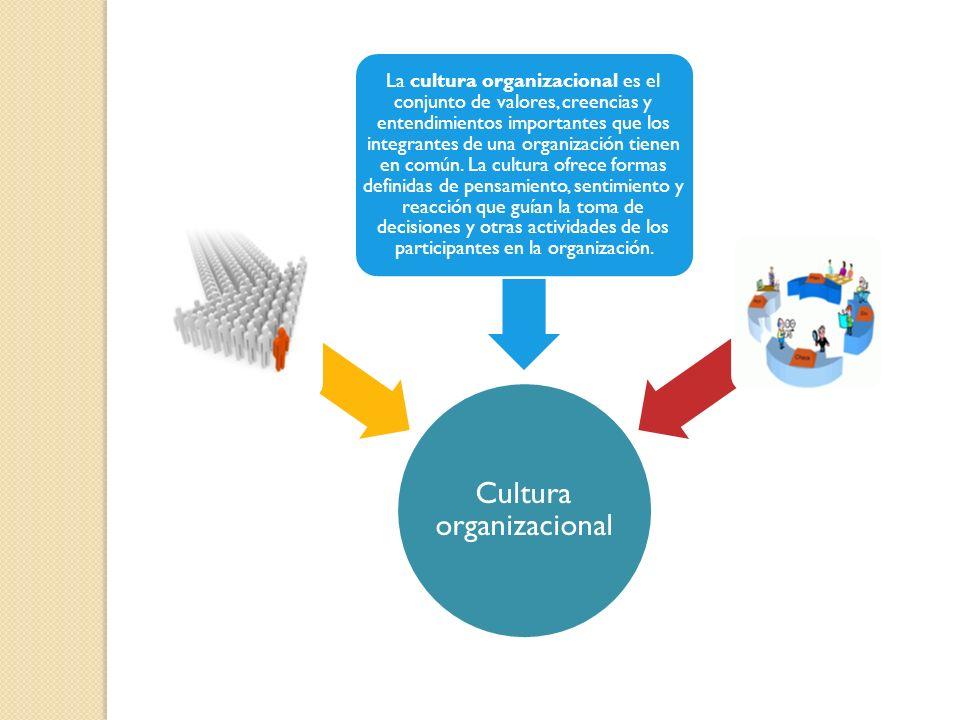 Cultura organizacional La cultura organizacional es el conjunto de valores, creencias y entendimientos importantes que los integrantes de una organiza