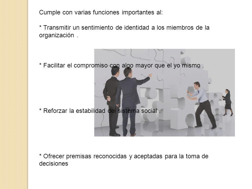 Cumple con varias funciones importantes al: * Transmitir un sentimiento de identidad a los miembros de la organización. * Facilitar el compromiso con