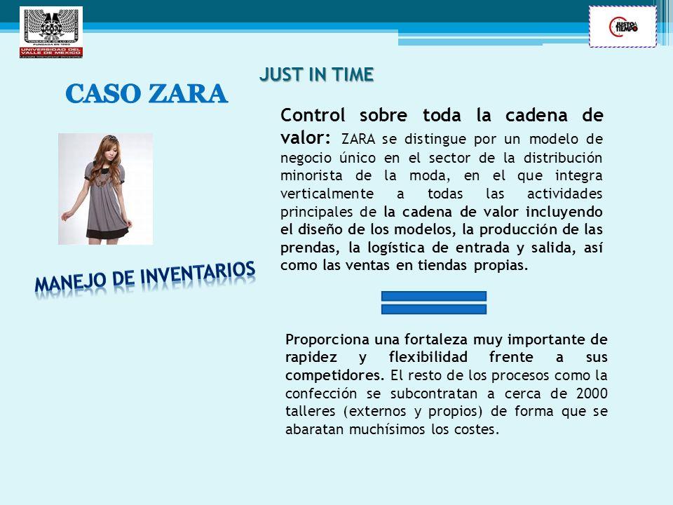 JUST IN TIME Control sobre toda la cadena de valor: ZARA se distingue por un modelo de negocio único en el sector de la distribución minorista de la m