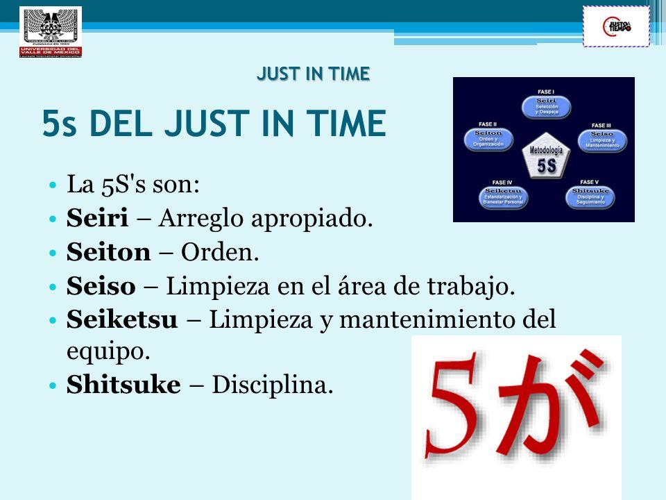 5s DEL JUST IN TIME La 5S's son: Seiri – Arreglo apropiado. Seiton – Orden. Seiso – Limpieza en el área de trabajo. Seiketsu – Limpieza y mantenimient